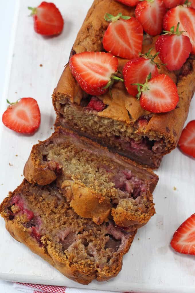 sliced strawberry banana bread
