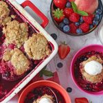 A delicious and fresh dairy free cobbler dessert recipe made with summer berries and peaches and Flora Freedom Walnut