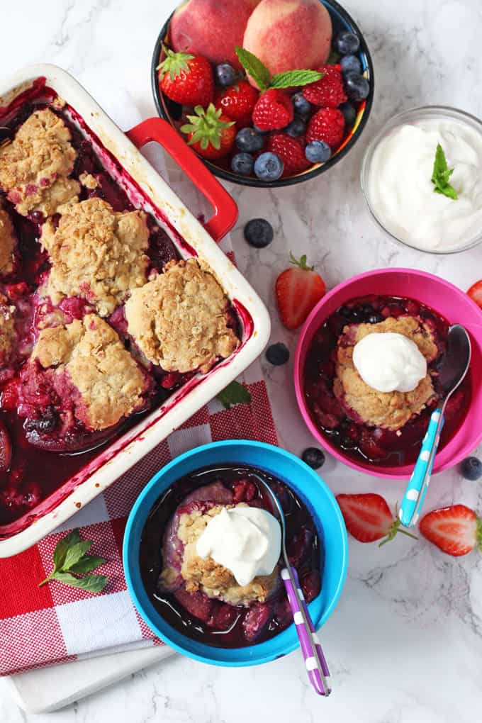 Summer Fruit Cobbler served with creme fraiche