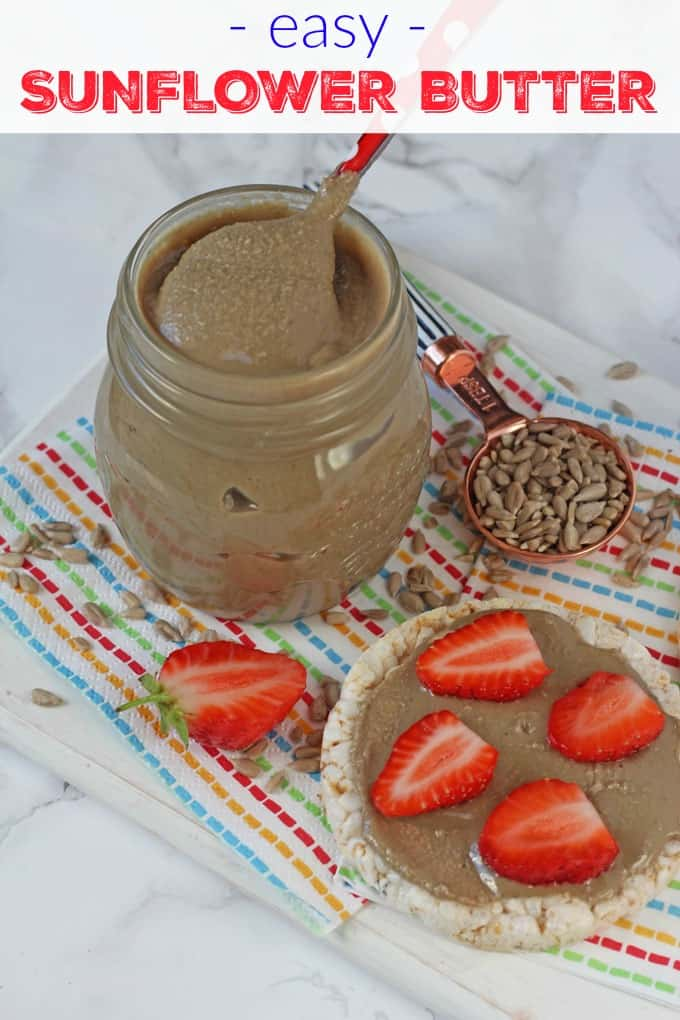 This Sunflower Butter is so easy to make and is a great nut-free alternative to peanut butter and can replace it in many recipes