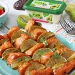 Delicious BBQ Salmon Skewers with Flora Dairy Free Avocado & Lime