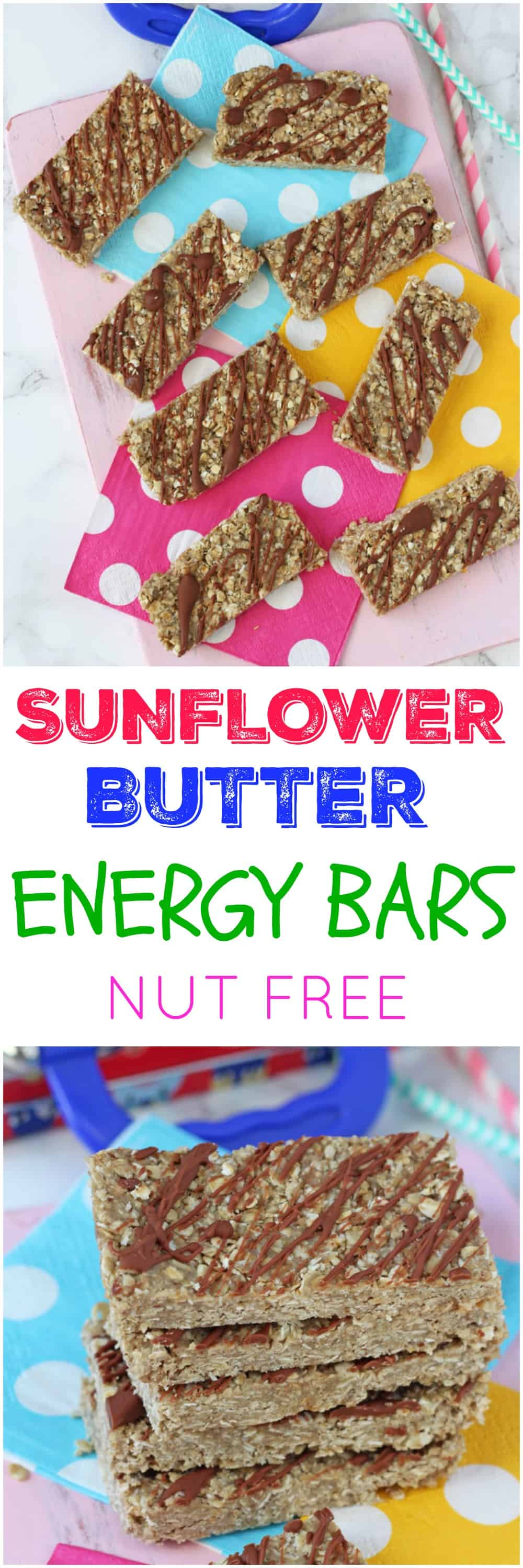 Delicious energy bars made with homemade sunflower butter, oats, flaxseed and coconut. They are the perfect nut-free snack for kids that can be popped into lunch bags or enjoyed as an after school snack!