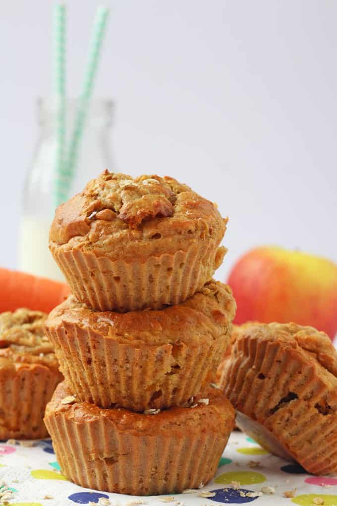 apple & carrot greek yogurt muffins