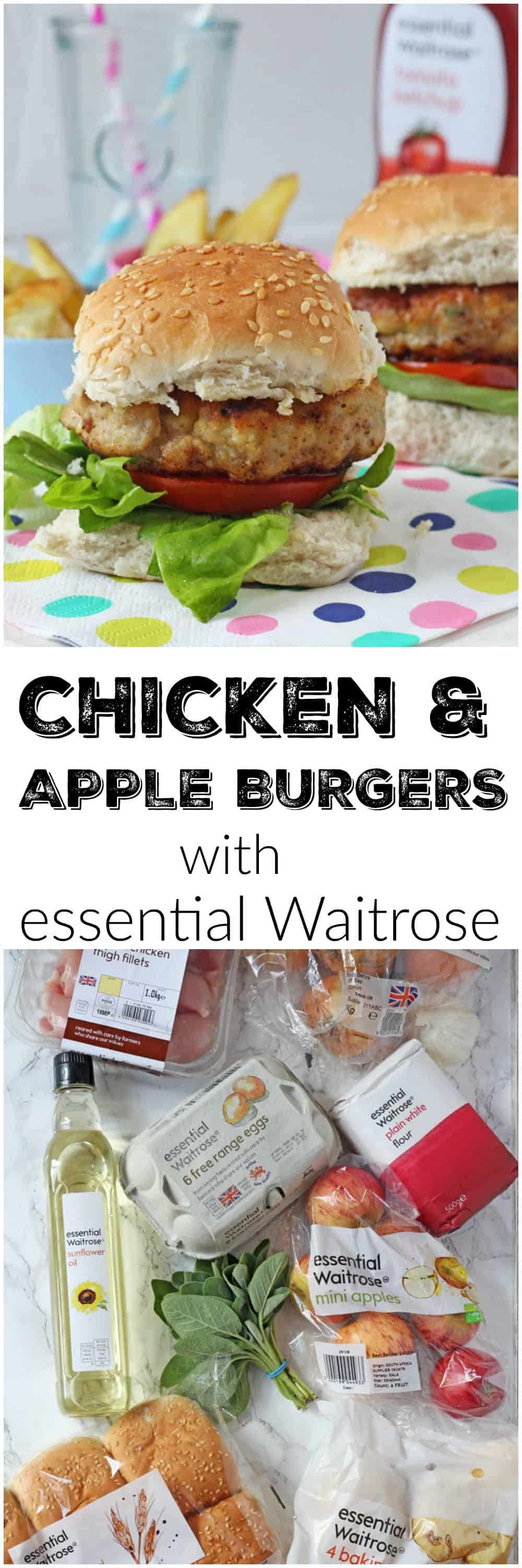Delicious kid-friendly burgers made with chicken thighs and grates apple, all from the essential Waitrose range.