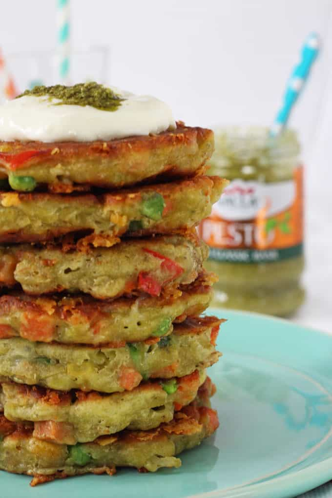 With just a few simple ingredients you can make these delicious Pesto Fritters, flavoured with basil pesto and packed with frozen veggies!