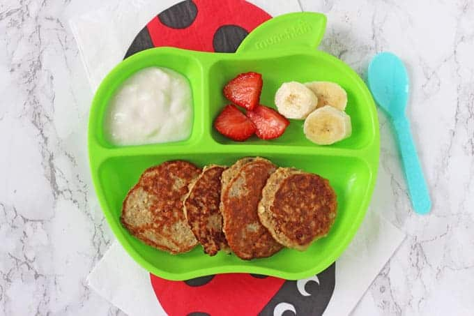 Simple pancakes made with just three ingredients - oats, eggs and banana. Ideal for baby led weaning and finger food for toddlers