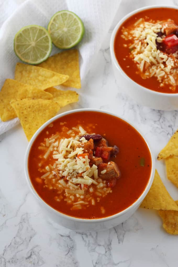 A delicious and warming Mexican Pork Soup, made with leftovers and cooked in just minutes.