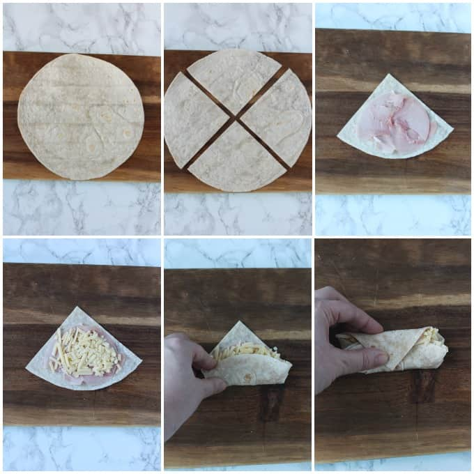 step by step photos showing how to fold the wraps