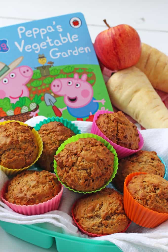 Parsnip muffins and Peppa's Vegetable Garden Book