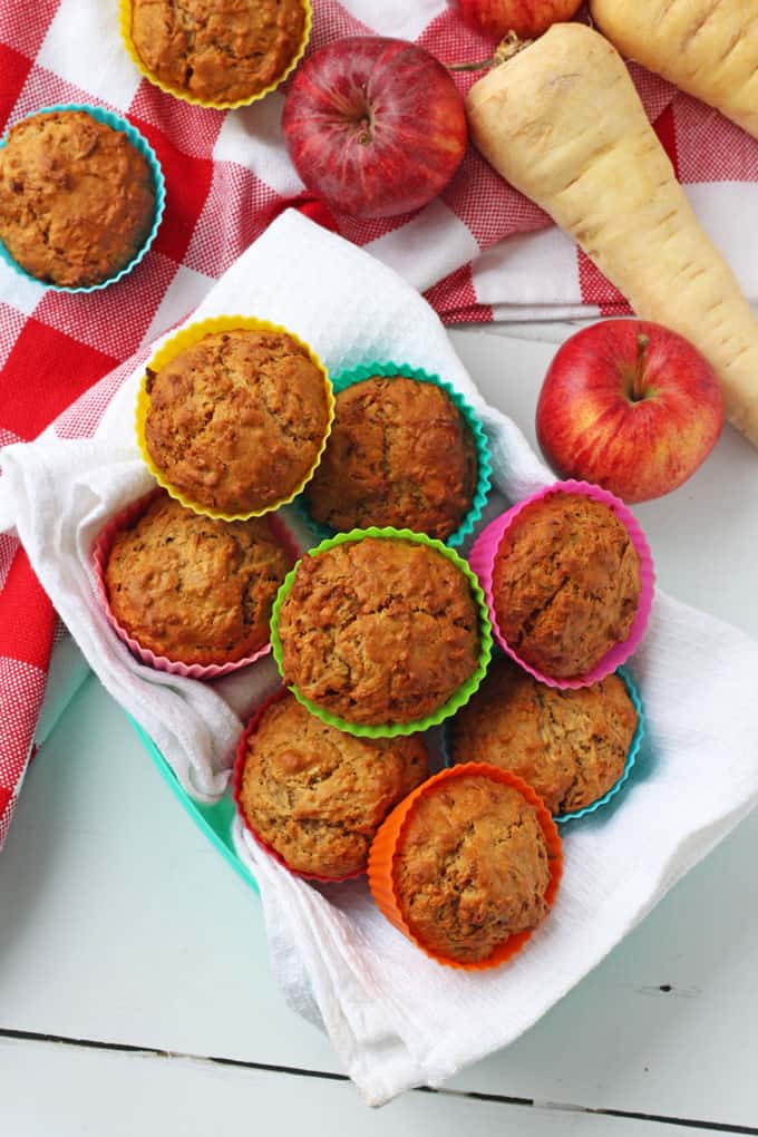 Kid-Friendly Parsnip and Apple Muffins.