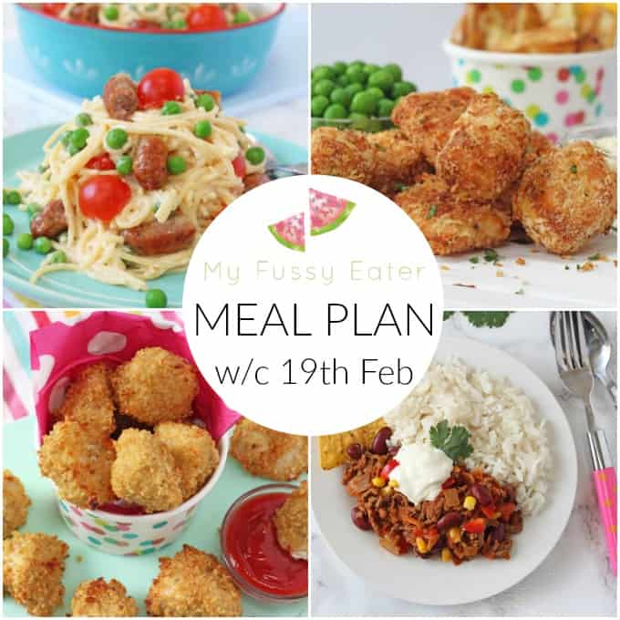 My Fussy Eater Family Meal Plan w/c 19th February 2018