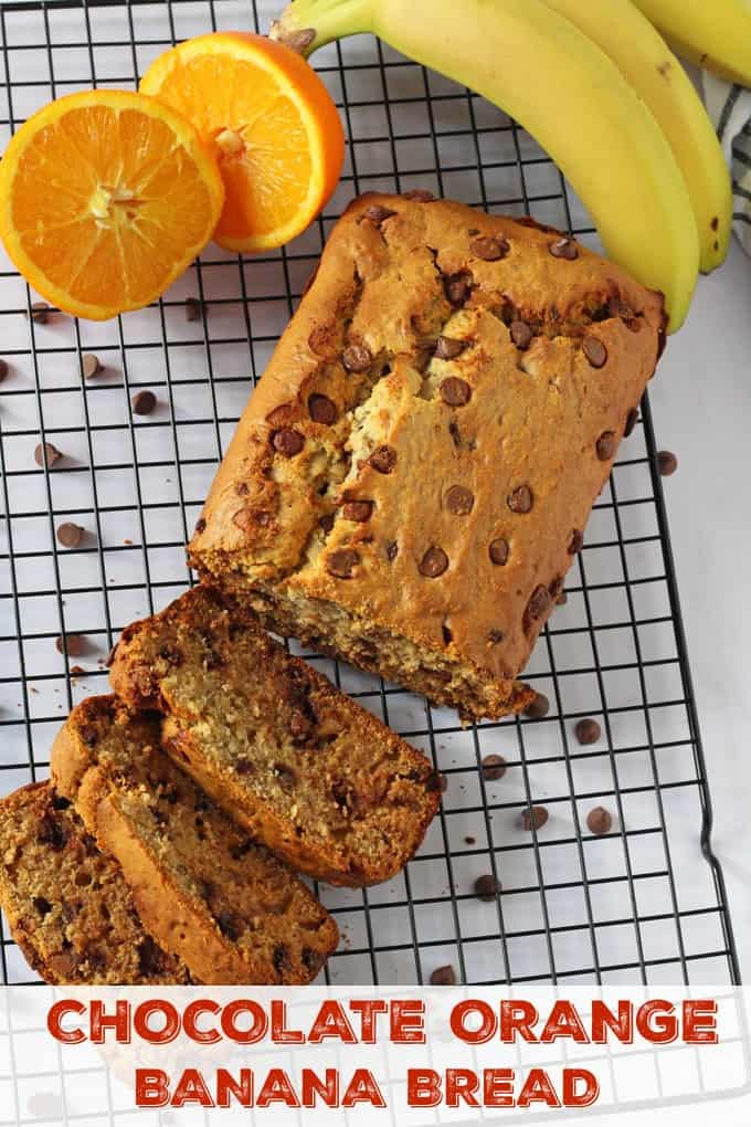 A delicious and easy banana bread recipe flavoured with orange and chocolate chips. This recipe is also a bit healthier using honey instead of refined sugar.
