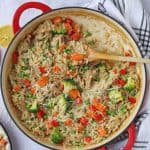 A delicious and easy risotto made with leftover roast chicken and vegetables. This recipe even uses the chicken carcass to make a very tasty stock!