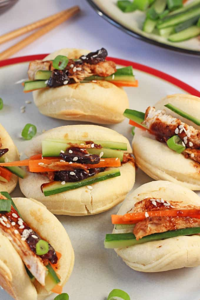 Delicious freshly made steamed buns with a sweet and sticky BBQ chicken sauce made with California Prunes