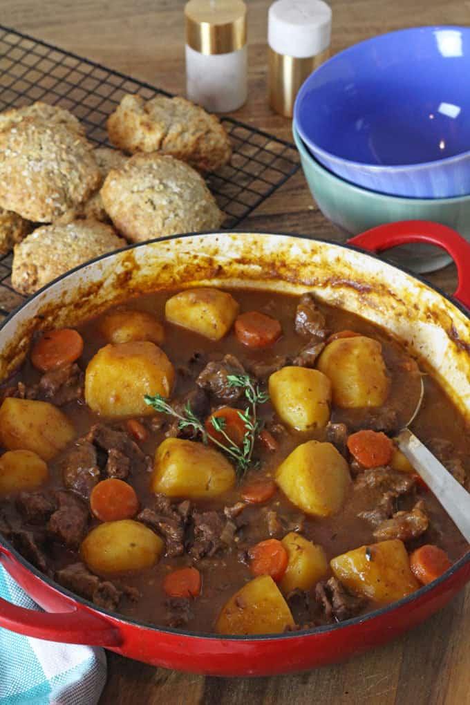irish beef stew with soda bread scones
