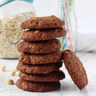 Triple Chocolate Hazelnut Oat Cookies