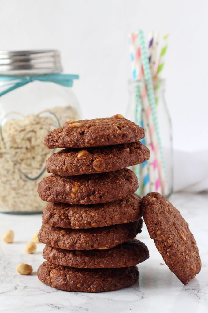 Delicious and filling triple chocolate cookies made with oats and wholemeal flour. The perfect afternoon snack for hungry kids and grown ups too!