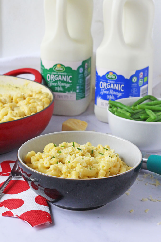 A delicious Mac & Cheese recipe with hidden courgettes, made in one pot with Arla Organic Free Range Milk