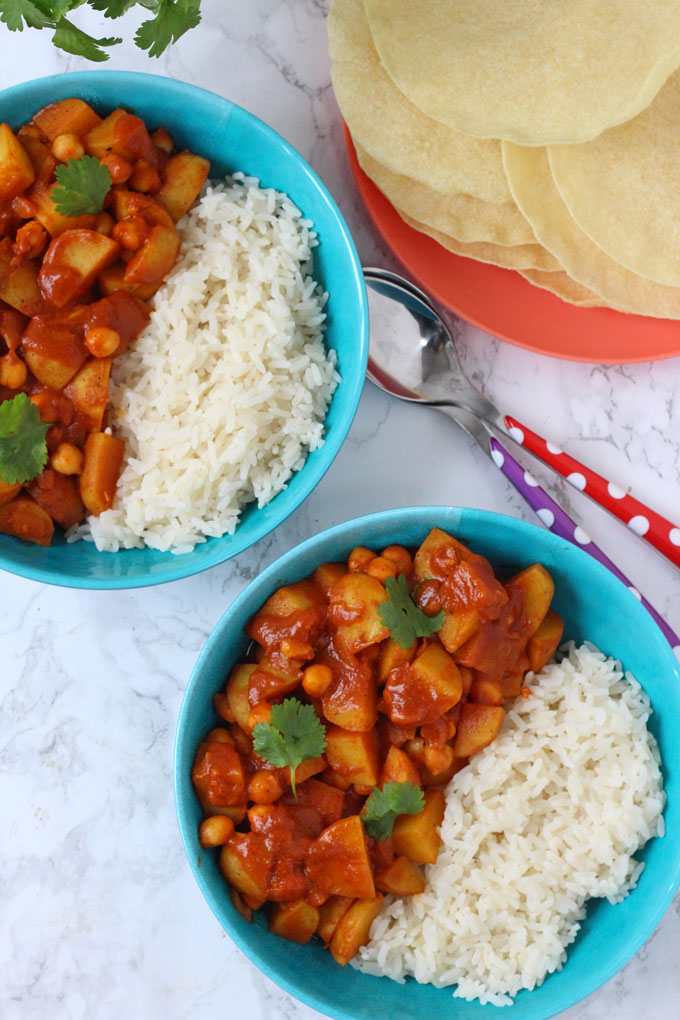 Potato & Chickpea Curry served with rice and poppadoms