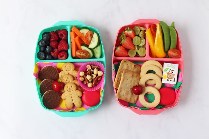Picture of two lunch boxes filled with healthy snacks