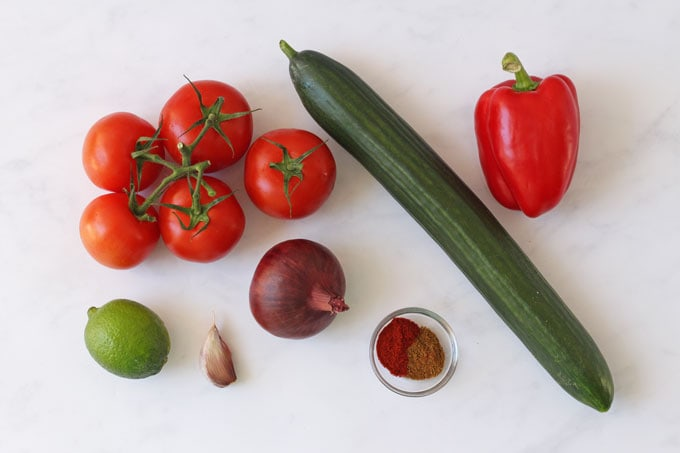 Ingredients for gazpacho soup