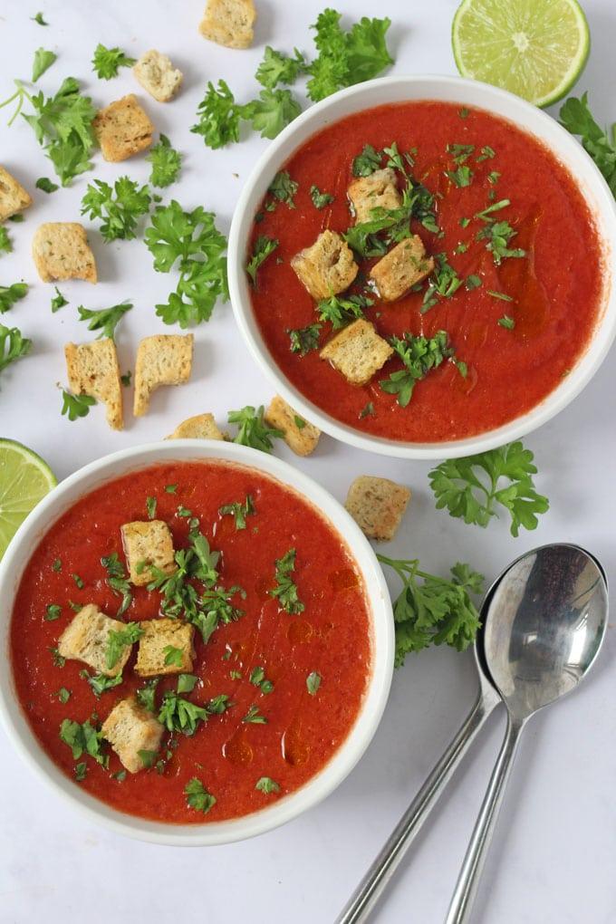Bright red gazpacho soup