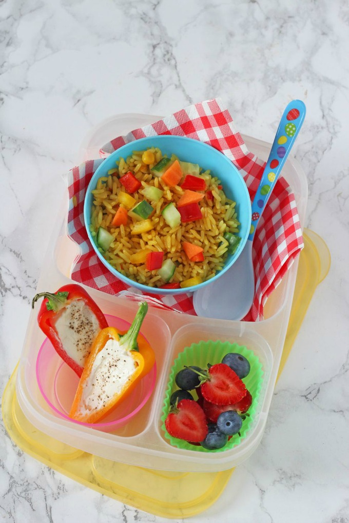 Vegetable Rice Salad in a lunch box
