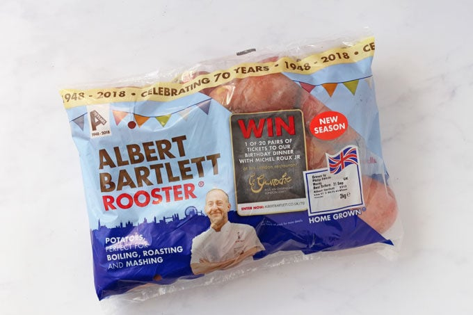 A bag of albert Bartlett Rooster potatoes