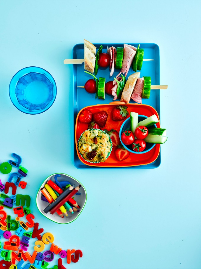 Kids Lunch Box with savoury muffin and sandwich skewer