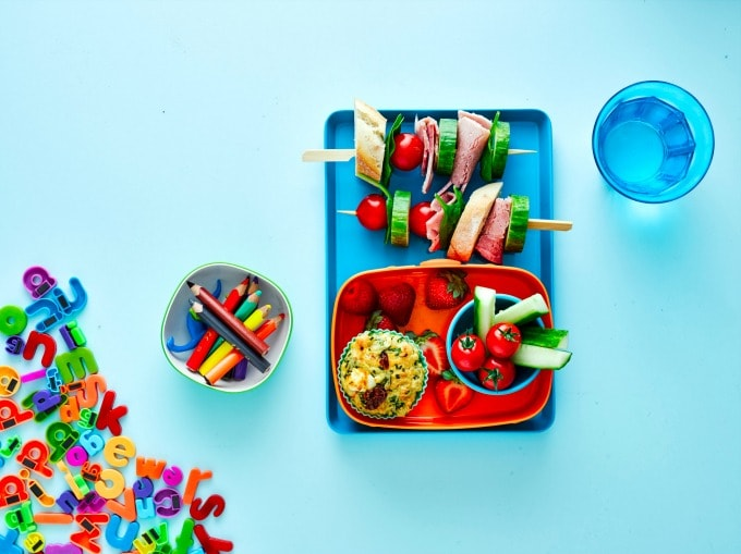 Kids Packed Lunch with a Savoury Muffin and Sandwich Skewer