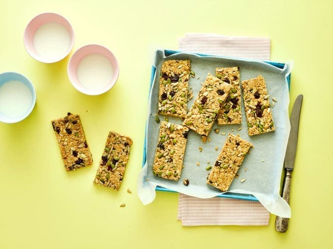Peanut Butter Flapjacks with raisins and seeds