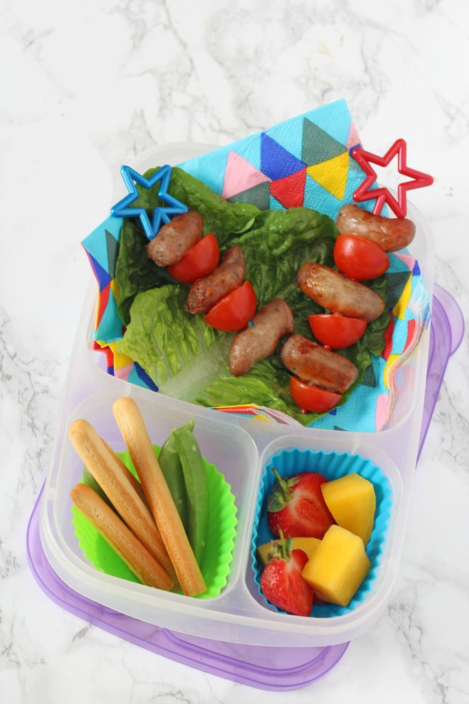 Lunch Box with Sausage & Tomato Skewers