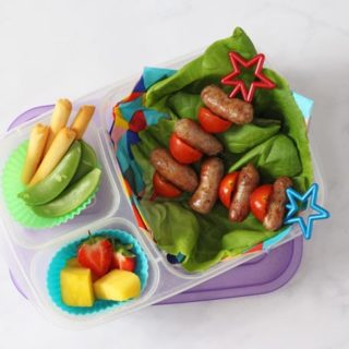 Sausage & Tomato Skewers in a lunch box