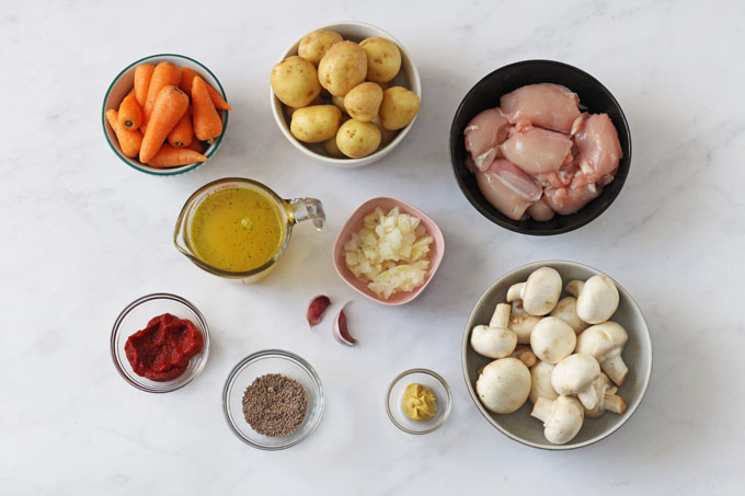 Ingredients for slow cooker chicken casserole