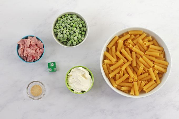 Ingredients for Ham & Pea Pasta