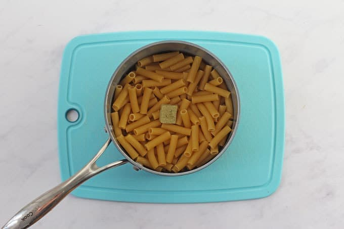 Pasta and Stock Cube in a saucepan