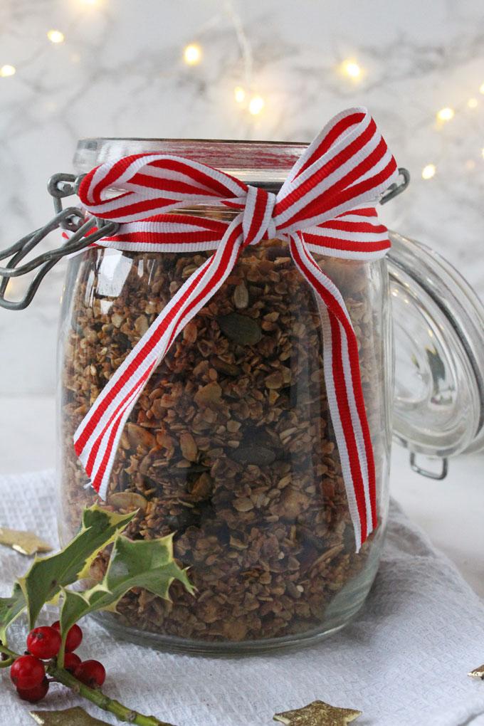 granola in a festive jar