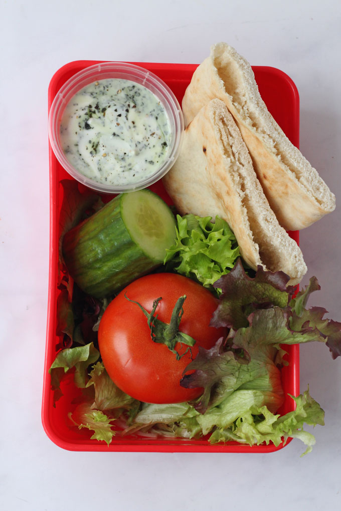 Lunchbox with Pitta Bread and Salad