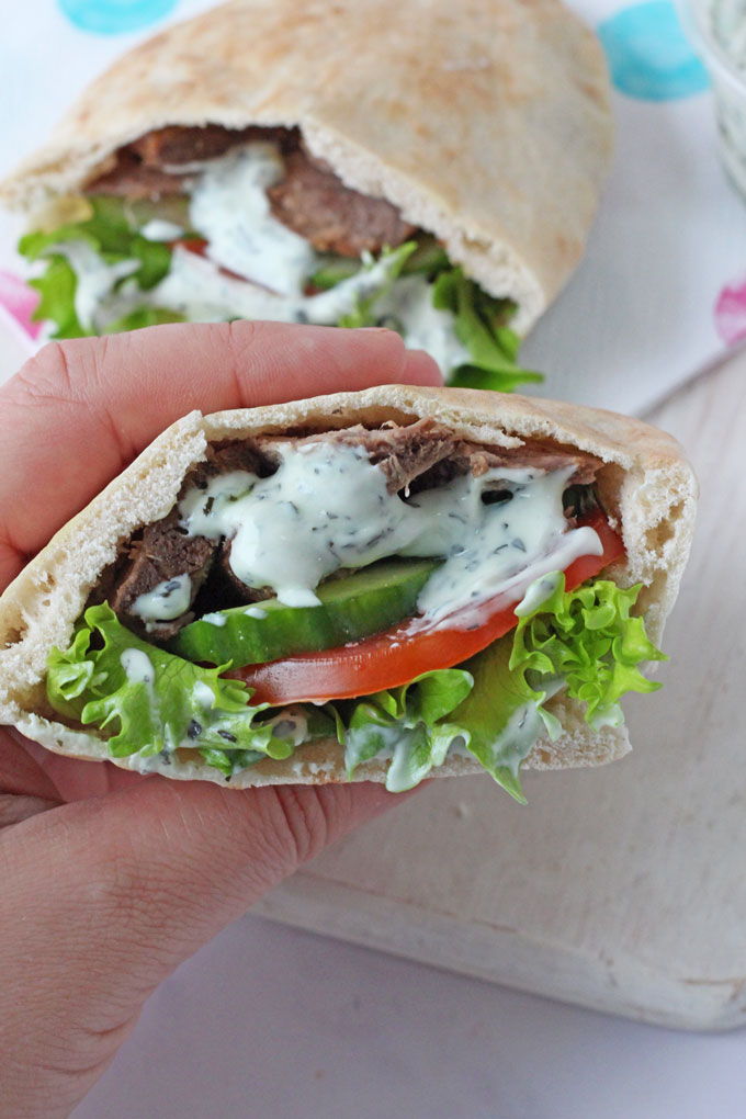Greek Lamb Pitta Breads with a Mint & Garlic Yogurt Dip