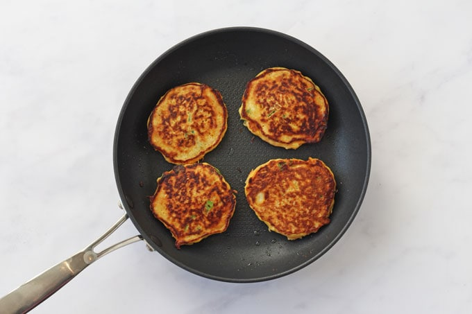 Salsify Pancakes in a pan
