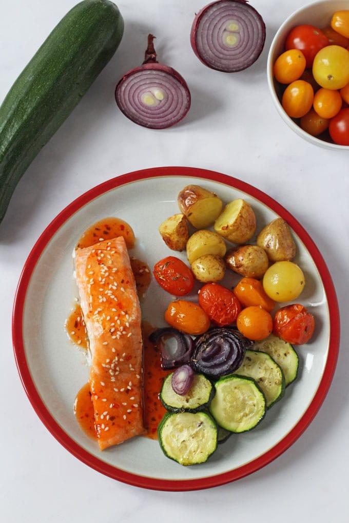 Chilli & Ginger Salmon and Veggie Traybake