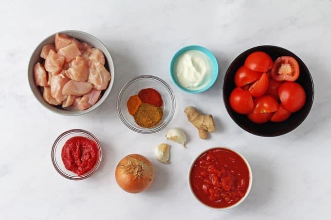 Ingredients for a Slow Cooker Chicken Tikka Masala recipe