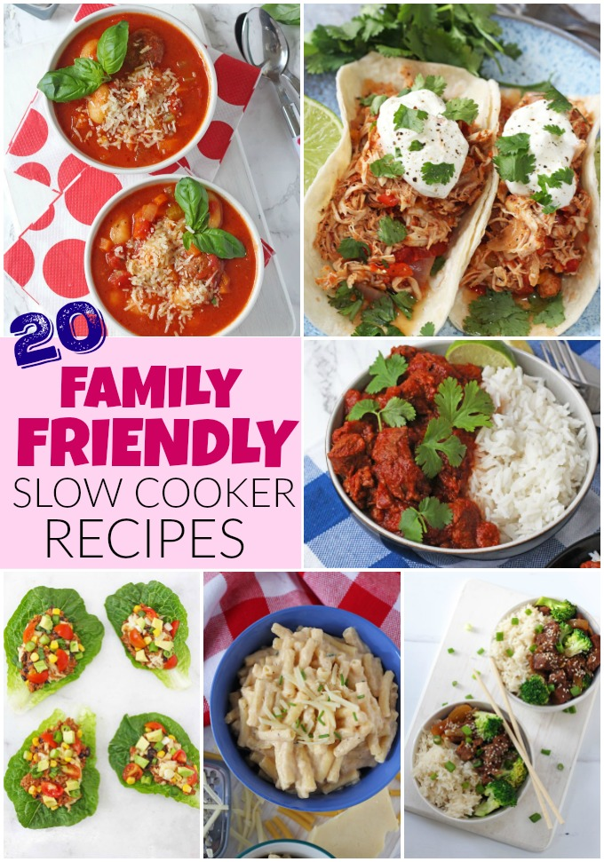 20 Family Friendly Slow Cooker Recipes Pinterest Pin