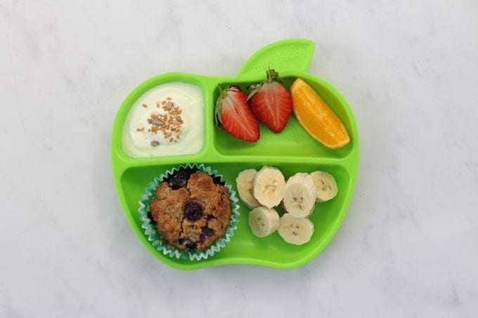weetabix muffins served with fruit & yoghurt