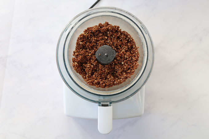 liquid mixture in the food processor with the rice krispie mix.
