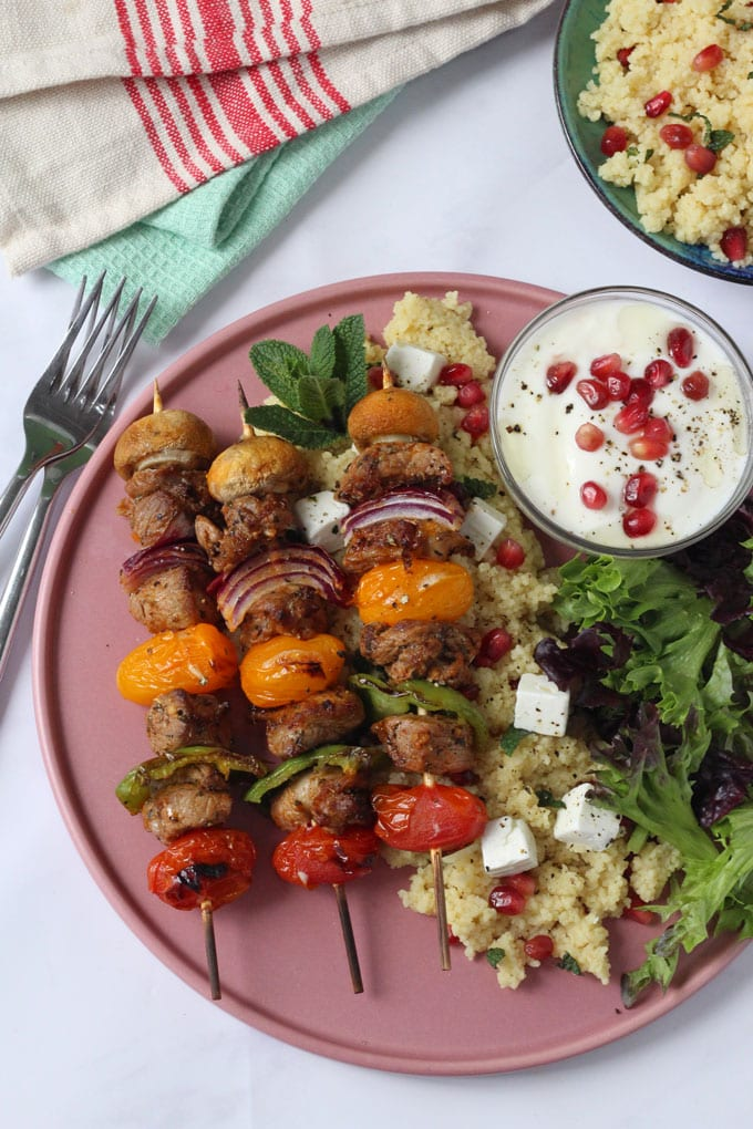 Herby Lamb & Vegetable Kebabs with Feta & Pomegranate Cous Cous