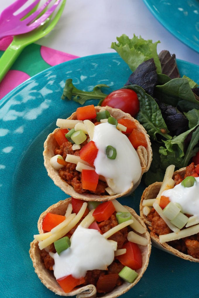 Mexican Taco Cups made with Quorn
