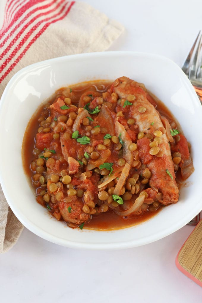 Easy Slow Cooker Sausage & Lentil Casserole Recipe