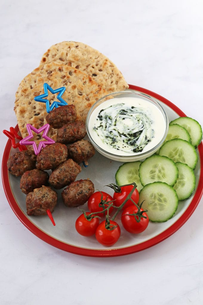 Lamb Meatballs - served with flatbread, mint yogurt and salad