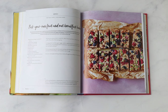 fruit & oat breakfast bars in recipe book